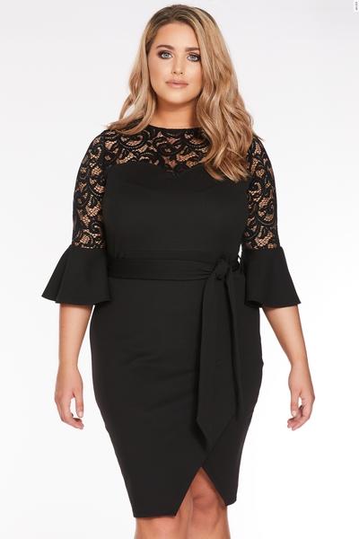 Curve Black Lace Wrap Front Dress